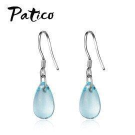 Elegant Style Light Blue Waterdrop Cz Pendant Earrings For Women 925 Sterling Silver Wedding Engagement Party Earring Patico/hoodmat.com