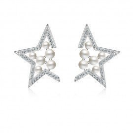 Fine Solid Sterling Silver 925 With Pearl Stud Earrings Novelty Star Shaped Party Accessories Bijoux Brincos For Women Patico/hoodmat.com