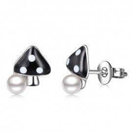 Personality Girls Party Jewelry Funny Plant 925 Sterling Silver Stud Earrings Women Mushroom Shape With Pearl Brincos Bijoux Patico/hoodmat.com