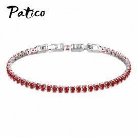 925 Sterling Silver Lovely Bracelet White/Black/Red/Rose/Dark Blue/Light Blue/Dark Green/Light Green/Pink For Women Patico/hoodmat.com