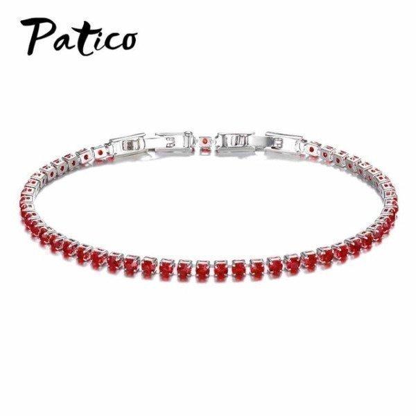 925 Sterling Silver Lovely Bracelet White/Black/Red/Rose/Dark Blue/Light Blue/Dark Green/Light Green/Pink For Women Patico/hoodmat.com