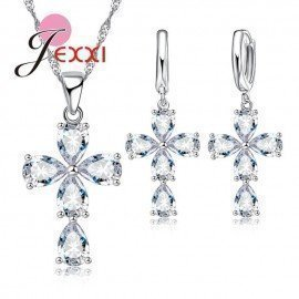 Sparkling Cross Crystal Necklace Pendent Earrings For Women 925 Sterling Silver Jewelry Set For Anniversary Party Gift Patico/hoodmat.com