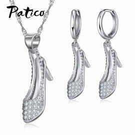 1Sets 925 Sterling Silver High Heels Pendant Earrings For Women Full Crystal Rhinestone Jewelry Gift School Office Lady Patico/hoodmat.com