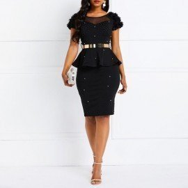 Bodycon Dress Women Ruffles Beading Black Elegant Party Stylish Solid Pink Summer Casual Evening Female Club Wear Sexy Dresses Wild Colour/hoodmat.com