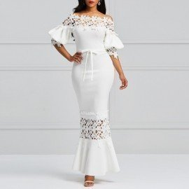 Elegant Long Dress Women White Lace Slash Neck Mermaid Dresses Sexy Hollow Lace-Up Bodycon Party Maxi Dresses Vestidos Wild Colour/hoodmat.com