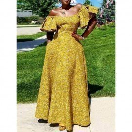 African Yellow Dress Sexy Off Shoulder Print Women Summer Evening Maxi Yellow Ruffle Party Ladies Elegant Long Dresses Wild Colour/hoodmat.com
