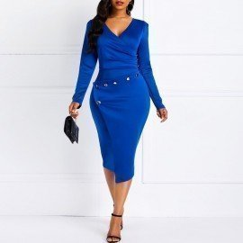 Office Dress Fashion Pleated Button Asymmetric High Waist Tunic Elegant Work Wear Vintage Blue Women Midi Ladies Dress Wild Colour/hoodmat.com