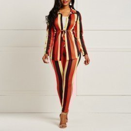 Striped Pant Suit Set Women Two Piece Long Sleeve Shirt Top Pants Female Fashion Sexy Outfit Office Lady Work Wear Suit Wild Colour/hoodmat.com