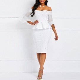 Bodycon Dresses Women Beads Stylish Elegant White Evening Summer Ruffles Mesh Flare Sleeve Elastic Slim Ladies Party Sexy Dress Wild Colour/hoodmat.com