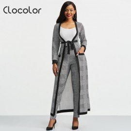 2 Piece Set 2019 Autumn Winter New Houndstooth Jacket Crop Top And Pants Set Woman Suits Lady Suit Office Trench Coat Wild Colour/hoodmat.com