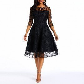 Summer Party Lace Dress Women 50S Vintage A Line Swing Elegant Evening Goth Mesh See Through Sexy High Waist Black Retro Dresses Wild Colour/hoodmat.com