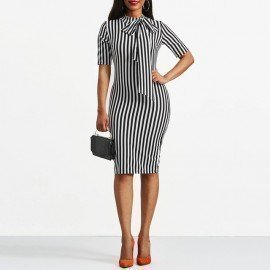 Vintage Dress Spring Autumn Retro Pin Up Bodycon Office Ladies Clothing Work Bowtie Plus Size Pencil Midi Striped Dress Wild Colour/hoodmat.com