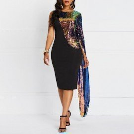 Color Sequins Dress Women Spring Sexy Evening Cloak Sleeve Fashion Brand Black Elegant Party Club Slim Ladies Bodycon Dresses Wild Colour/hoodmat.com