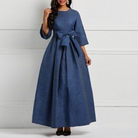 Office Lady Vintage Elegant Party Hot 2019 Women Long Dresses Casual Denim Retro Plain Lace Up Bow Preppy Female Blue Maxi Dress Wild Colour/hoodmat.com