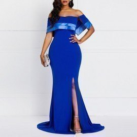 Maxi Dresses Sexy Elegant Women Ol Ladies Blue Casual Off Shoulder Strapless Solid Split Ruffles Backless Evening Female Dress Wild Colour/hoodmat.com