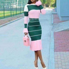 Casual Bodycon Dress Women 2019 New Sexy Fashion Stripe Pink Ruffle Flare Long Sleeve Sweet Elegant Ladies Autumn Midi Dresses Wild Colour/hoodmat.com