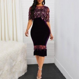Spring Party Velvet Bodycon Dresses Women Tassel Sexy Mesh See Trough 2019 New Purple Elegant Mermaid Evening Sequins Midi Dress Wild Colour/hoodmat.com