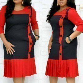 Women Dress African Fashion Red Black Patchwork Button Up Pleated Plus Size Xxxl Ladies Modest Office Elegant Female Work Wear Aomei/hoodmat.com