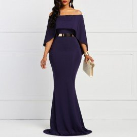 Batwing Sleeve Bodycon Slash Neck WomenS Dress Navy Elegany Trumpet Evening Party Christmas Dinner Floor-Length Maxi Dresses Kidsbubles/hoodmat.com
