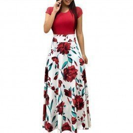 Vintage Floral Print Patchwork Long Dress Women 2019 Casual Short Sleeve Party Dress Elegant O Neck Ladies Maxi Dress Sundress Hilorill Boutique/hoodmat.com