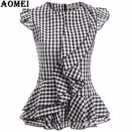 Lady Summer Tops Sleeveless Black Plaid Blouses Shirts Ruffles Trim Woman Vintage Gingham Blusas Plus Size Retro Style Peplum Aomei/hoodmat.com