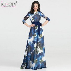 2019 Autumn Women Maxi Elegant Dress Floral Print Floor Length Party Dresses Women Evening Bodycon Long Dress Spring Vestidos Ichoix.Os/hoodmat.com