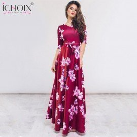Floor-Length Elegant Dress Women Casual V Neck Autumn Flower Print Maxi Dress Boho 2019 Summer Ladies Evening Party Long Dresses F&L.Os/hoodmat.com