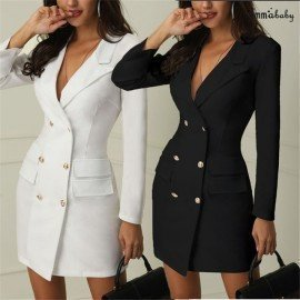Elegant Dresses Women Dress Office Casual Blazer White Black Dress 2019 Spring Winter Slim Suit Ladies Dresses Luck.Os/hoodmat.com