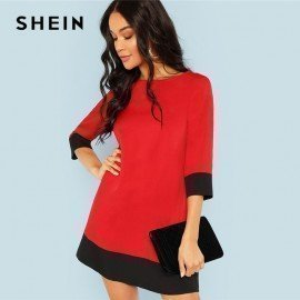 Red Contrast Trim Tunic Dress Workwear Colorblock 3/4 Sleeve Short Dresses Women Autumn Elegant Straight Mini Dresses Shein.Os/hoodmat.com