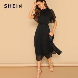 Glamorous Black Mock-Neck Knot Back Sheer Panel Dress 2019 Spring A Line Butterfly Sleeve Stand Collar Elegant Dresses Shein.Os/hoodmat.com