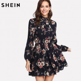 Autumn Floral Women Dresses Multicolor Elegant Long Sleeve High Waist A Line Chic Dress Ladies Tie Neck Dress Shein.Os/hoodmat.com