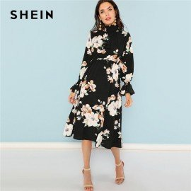 Black Print Mock Neck Pleated Panel Floral Dress Elegant Ruffle Streetwear Trip High Waist Women Autumn Dresses Shein.Os/hoodmat.com