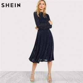 A Line Ladies Dresses Navy Long Sleeve Mock Neck Glitter Fit Abd Flare Dress Stand Collar Elegant Party Dress Shein.Os/hoodmat.com