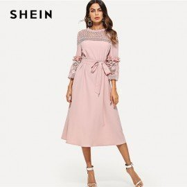 Lace Yoke And Sleeve Pearl Beading Belted Dress Pink 3/4 Sleeve Ruffle Straight Tunic Dresses Women Autumn Elegant Dress Shein.Os/hoodmat.com