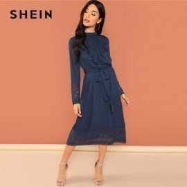 Navy Going Out Weekend Casual Pleated Ruffle Trim Lace Trim Dress 2018 Autumn Long Sleeve Elegant Dress Women Dresses Shein.Os/hoodmat.com