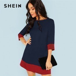 Navy Elegant Office Lady Colorblock Contrast Trim Tunic Round Neck 3/4 Sleeve Dress Autumn Workwear Women Dresses Shein.Os/hoodmat.com