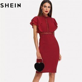 Burgundy Red High Waist Vintage Ruffle Sleeve Lady Bodycon Dress 2018 Elegant Retro Party Lace Eyelet Hem Slit Dresses New Shein.Os/hoodmat.com