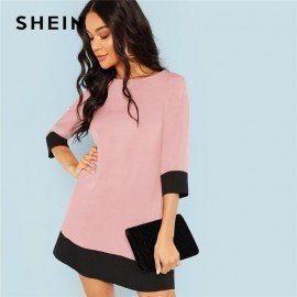 Pink Office Lady Colorblock Contrast Trim Tunic O-Neck 3/4 Sleeve Straight Dress Autumn Workwear Elegant Women Dresses Shein.Os/hoodmat.com