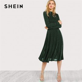 Green Elegant Party Mock Neck Glitter Button Fit And Flare Solid Natural Waist Dress 2018 Autumn Minimalist Women Dresses Shein.Os/hoodmat.com