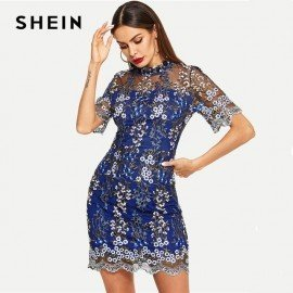 Blue Contrast Mesh Floral Dress Short Sleeve Stand Collar Slim Going Out Autumn Modern Lady Elegant Party Women Dresses Shein.Os/hoodmat.com