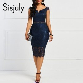 Bodycon Women Dress Lace Slash Neck Hollow Backless Sexy Elegant Ol Party Chic Mid Calf Patchwork Sheath Retro Dresses Sisjuly.Os/hoodmat.com