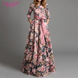Bohemian Printing Long Dress O-Neck Three Quarter Sleeve Big Hem Women Spring Summer Dress Elegant Casual Vestidos De S.Flavor.Os/hoodmat.com
