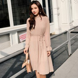 Women Two Layers Chiffon Pleated Dress 2019 Spring..