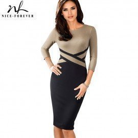 Nice-Forever Vintage Elegant Contrast Color Patchwork Wear To Work Vestidos Business Party Office Women Bodycon Dress B463 Nice-Forever.Os/hoodmat.com
