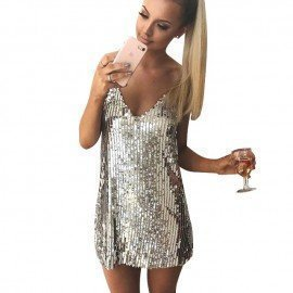 Sexy Silver Sequin Women Dress Deep V Neck Sleevel..