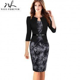 Nice-Forever One-Piece Faux Jacket Brief Elegant Patterns Work Dress Office Bodycon Female 3/4 Or Full Sleeve Sheath Dress B237 Nice-Forever.Os/hoodmat.com