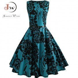 Floral Print Summer Dress Women  Vintage Elegant S..