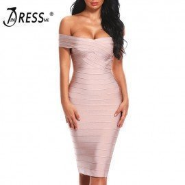 Sexy Off Shoulder Women Bandage Dress Elegant Slash Neck Knee Length Bodycon Backless Party Dress Vestidos 2019 New Indressme.Os/hoodmat.com