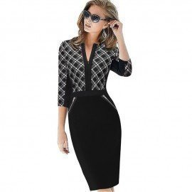 Plus Size Front Zipper Women Work Wear Elegant Stretch Dress Charming Bodycon Pencil Midi Spring Business Casual Dresses 837 Oufangmeiyi S.Os/hoodmat.com