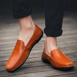 2019 Casual Shoes Men Loafers Genuine Leather Spring/Autumn Mens Moccasins Shoes Slip On Mens Leather Flat Shoes Big Size Men Jichi/hoodmat.com